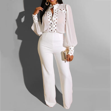 Autumn Winter Long Sleeve White Jumpsuit Elegant Lady Hollow out African Party Long Jumpsuit