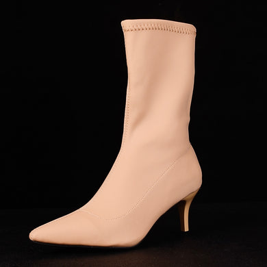 Black Beige Ankle Elastic Sock Boots Pointed Toe Thin Heel Boots
