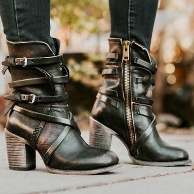 Punk Gothic Style Buckle Strap Round Toe Boots Zipper