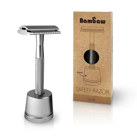 Bambaw Double Edged Metal Safety Razor with Stand