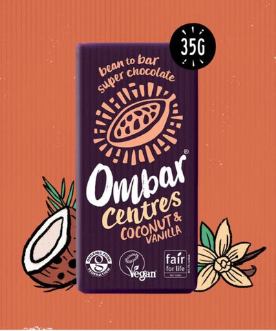 Ombar Centres Coconut & Vanilla Organic and Vegan Chocolate Bar 35g