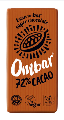 Ombar 72% Cacao Dark Organic and Vegan Chocolate Bar 35g