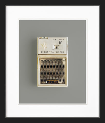 white AM radio black frame