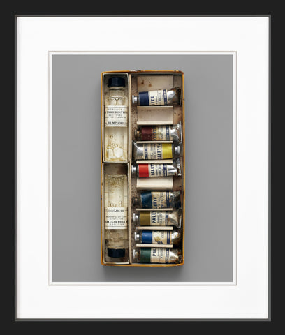 box of oil paints black frame