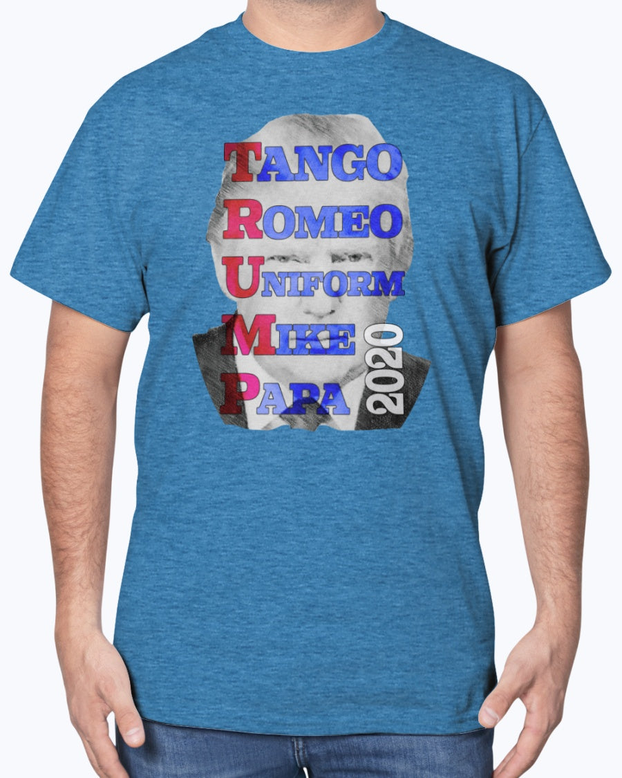 Patriotic Tango Romeo Trump 2020 Gildan Cotton T-Shirt for men and women