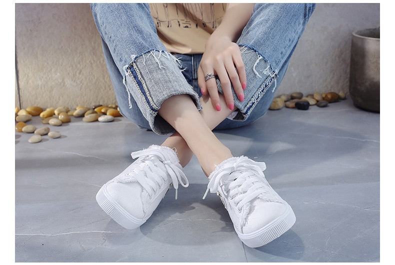 Low heel Slip on Denim Shoes