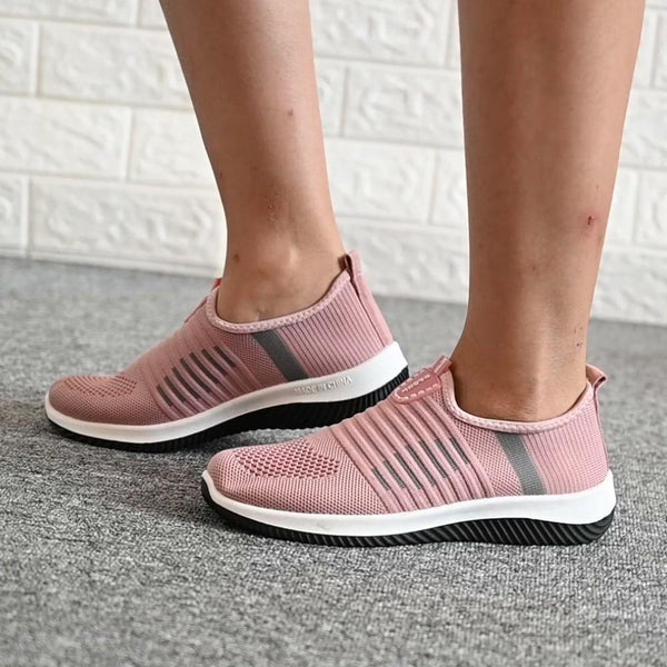 Flexible Striped Slip on Mesh Shoes