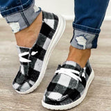 Plaid Denim Slip On Flats