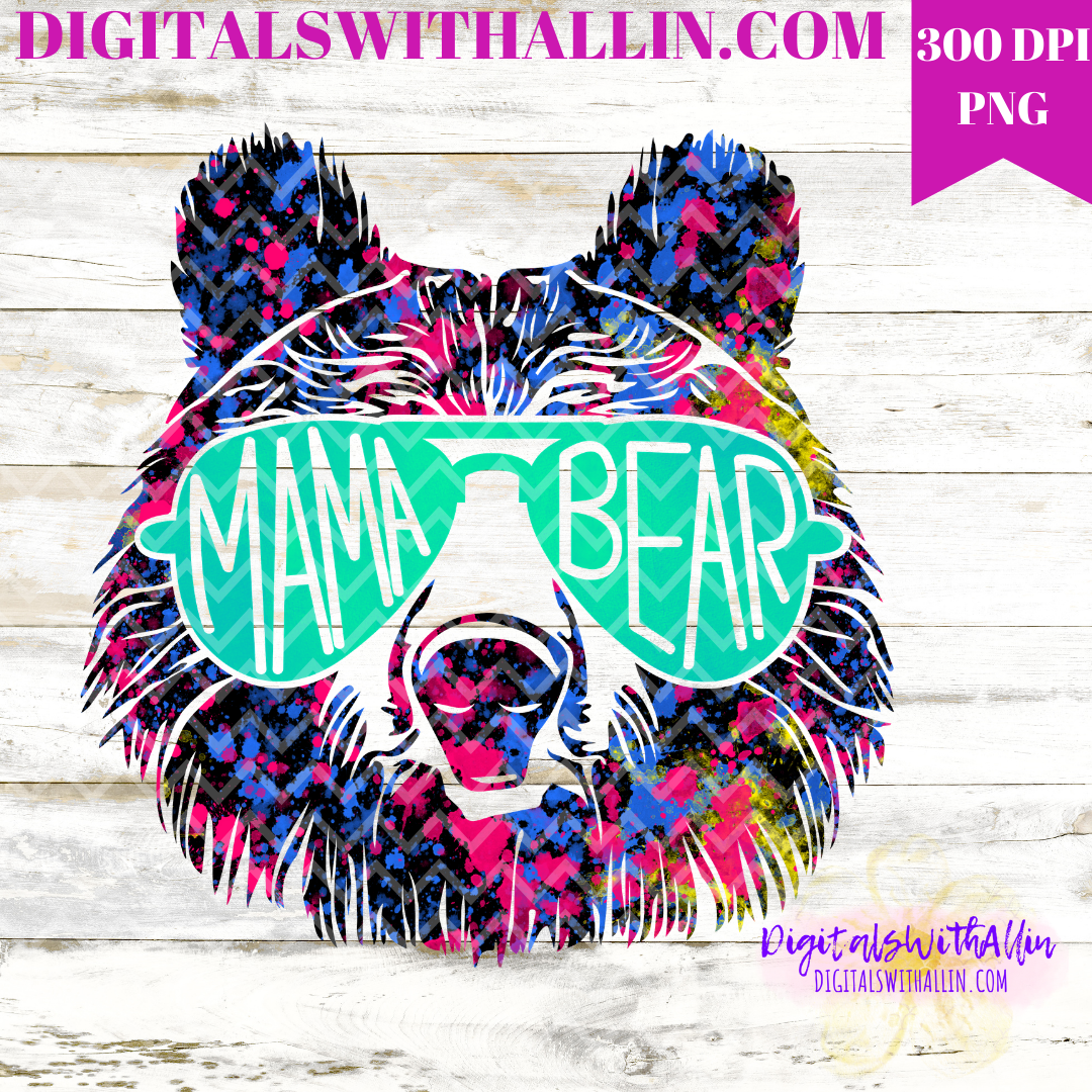 Mama Bear Direct to Garment Tye Die Instant png Download Sublimation Design T Shirt png Design Clipart 300 dpi Image