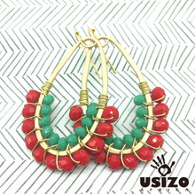 Load image into Gallery viewer, Drop Earrings Half Beaded