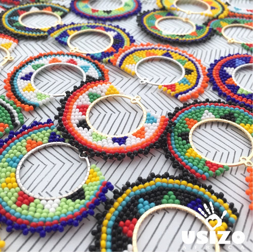Zulu Beaded Half Circle Earrings