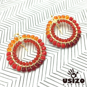 Mix Colour Crystal Circle Earrings