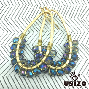 Drop Earrings Half Beaded