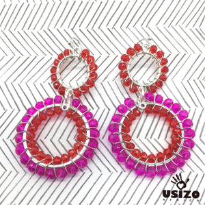 Double Crystal Circle Earrings