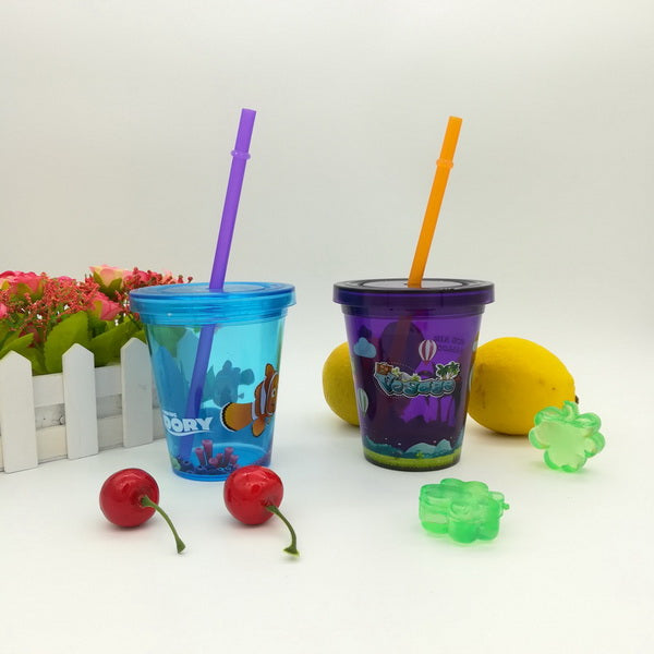 10oz Plastic water cup with straw GL-M069
