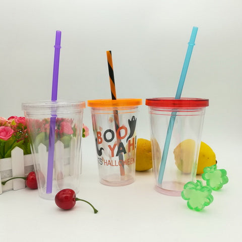 12oz Plastic double wall juice cup GL-M004