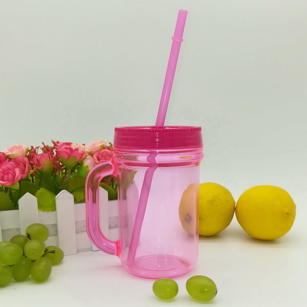 14oz Plastic mason jar with straw for drinks