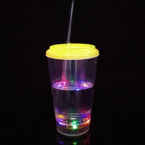 12oz Led plastic drinking cola glass with lid and straw