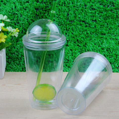 16oz Plastic double wall tumbler with arch lid