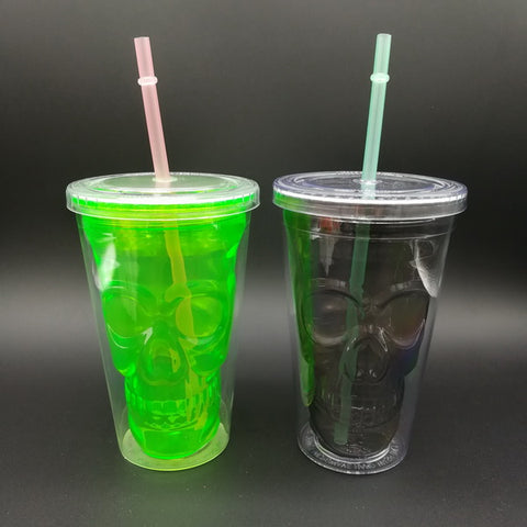 14oz Plastic double wall skull drinking juice cup