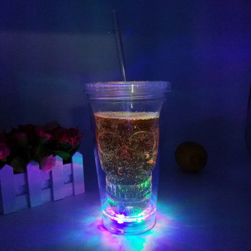 14oz led flashing Plastic double wall skull drinking juice cup