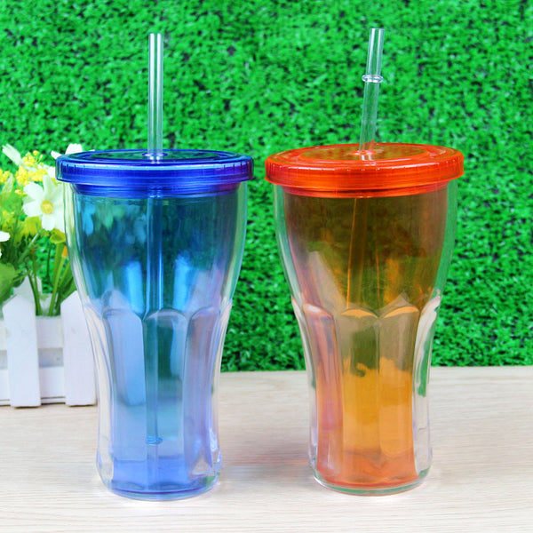 16oz Plastic double wall drinking juice glass