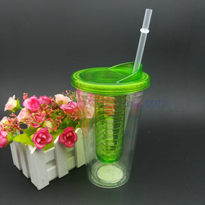 16oz Plastic double wall drinking juice tumbler with lid and straw