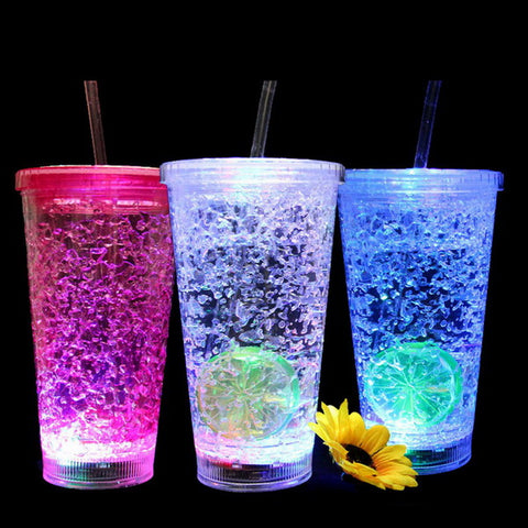 16oz led flashing double wall Frosty beer mug GL-MN109B