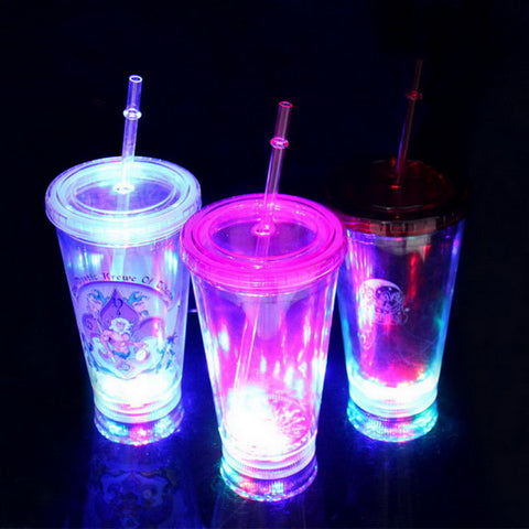 16oz Plastic flashing double wall tumbler with straw