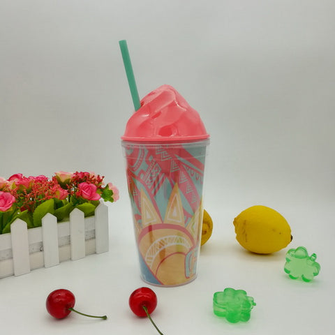16oz Plastic double wall juice tumbler GL-M087