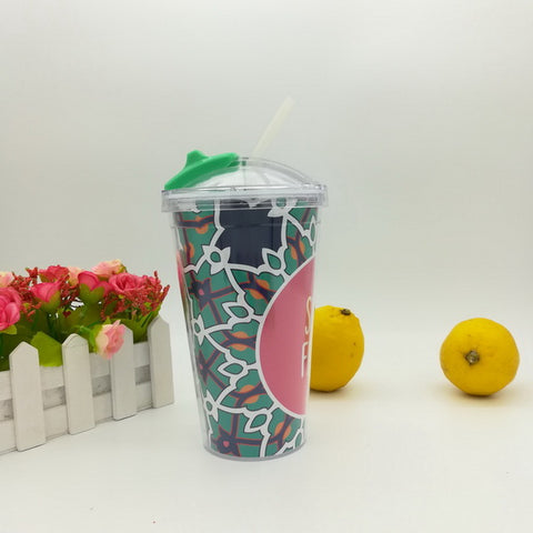 16oz Plastic double wall drinking juice cup