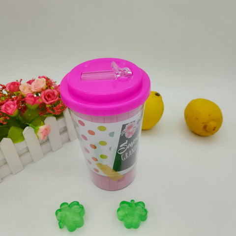 16oz Plastic double wall cup with lid and straw GL-M01A