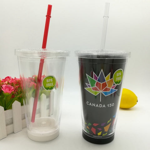 16oz Plastic double wall water tumbler capable of inserting paper