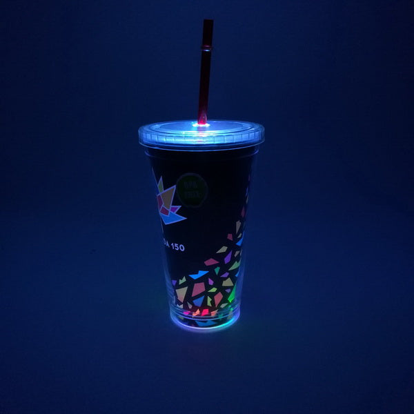 16oz Flashing plastic double wall water tumbler with insert paper