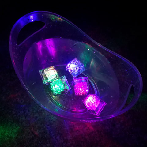 Led flashing liquid sensor ice cube