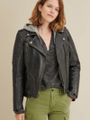Women's Quilted Shoulder Leather Moto Cycle Jacket