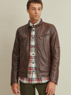 Brent Leather Moto Jacket Brown