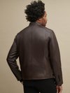 Brown Leather Jacket with Zipper Pockets