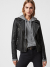 Women's Regular Fit Cargo Leather Biker Jacket