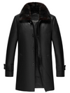 Mens Black Shearling Leather Coat Three Quarter Length Coat