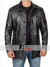 Mens Premium Black Winter Leather Coat - 3/4 Length