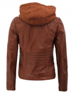 Womens Brown Cafe Racer Leather Jacket With Removable Hood