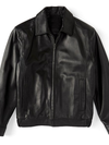 Roundtree and Yorke Genuine Lambskin Black Leather Bomber Jacket