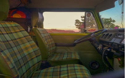 Green VW Bus interior