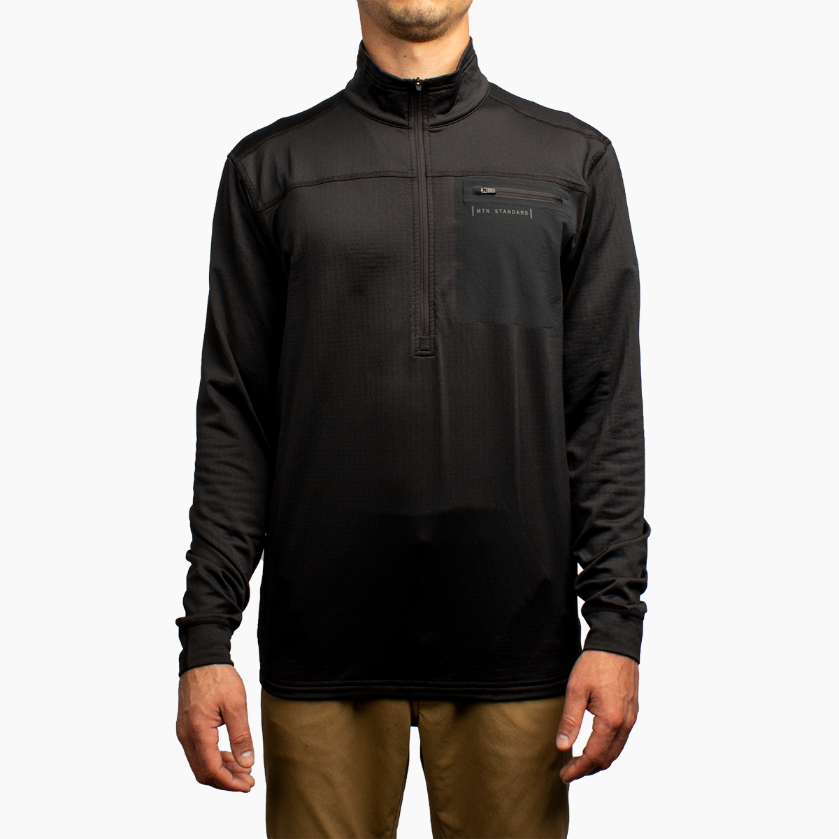 Men's 1/4 Zip Grid Fleece - Black
