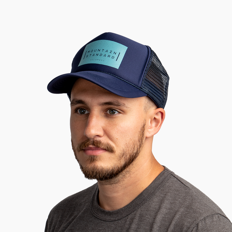 Logo Block Trucker Hat - Navy