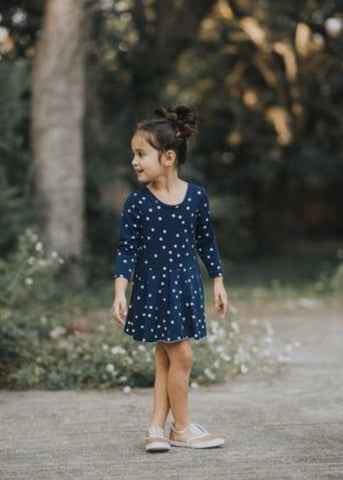 Paige Dress - Navy Dot