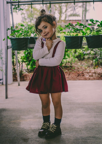 Cranberry Suspender Skirt