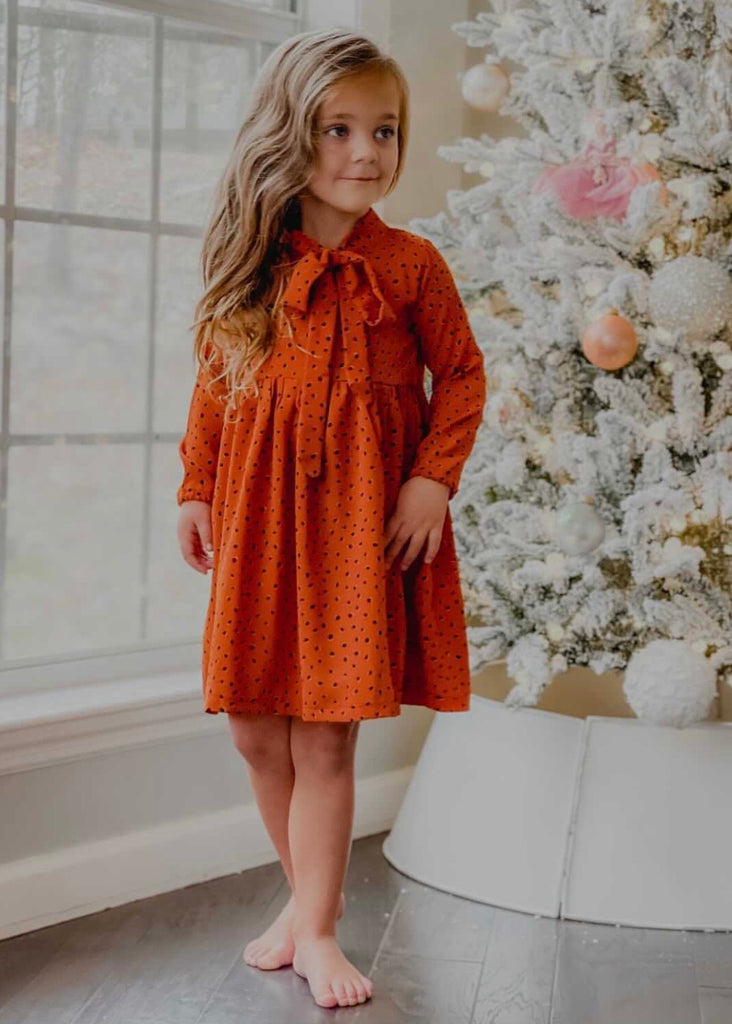 Jaymes Dress - Rust Dot