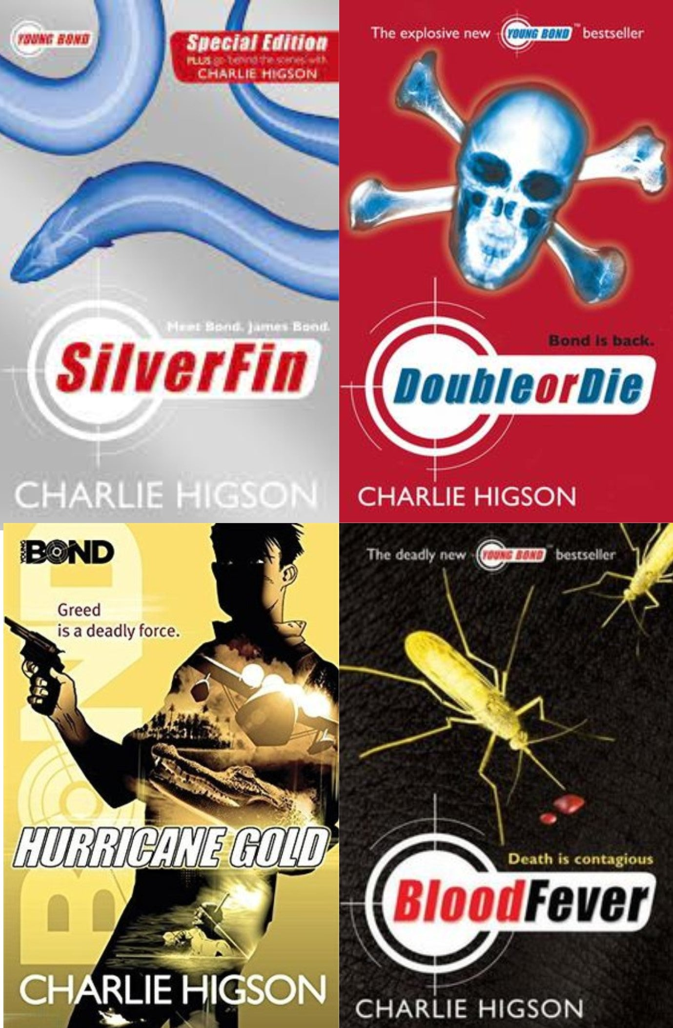 Young Bond Series Collection Charlie Higson 4 Books Set ( SilverFin, Blood Fever, Hurricane Gold, Double or Die)